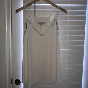 LOFT sleeveless blouse, white with black piping